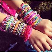 Rubber loom Bands DIY Bracelets Key Chain love Couple Bracelet (300 pcs rubber bands +12pcs S buckle+ 1 Small crochet)