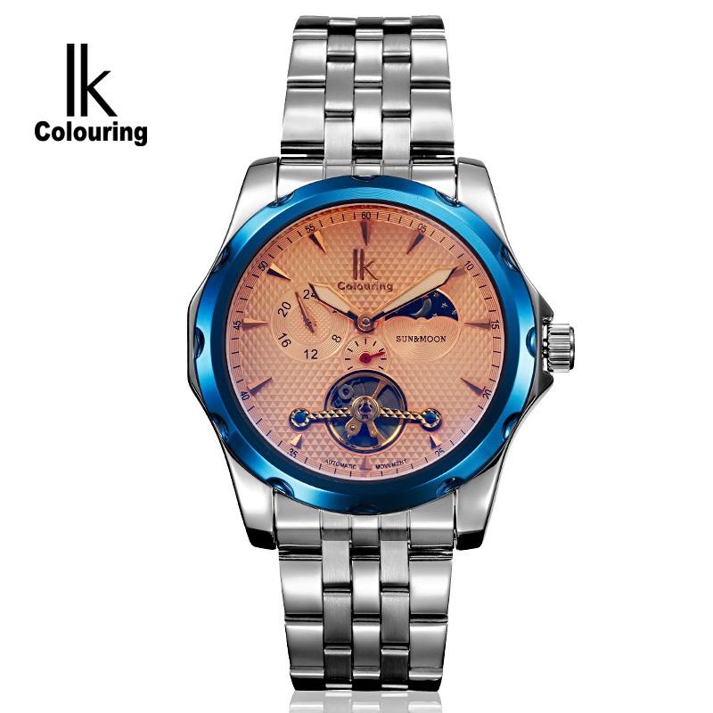 2014 News IK Tag Brand Mens Luxury Automatic Tourbillon Watch Steel Strap Self-Wind Multi Functional Design Mechanical Hot Clock(China (Mainland))