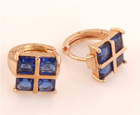 Free Shipping! 1pair=2pcs 14K Rose Gold Filled 100% Blue square Cubic Zirconia Women's jewelry  Hoop Earrings TG002