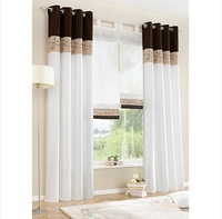 New style Bamboo Fabric Embroidered Patchwork Curtain Stitching Colors High Quality Modern Finished Curtain 2pcs/lot