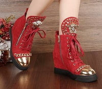 Free Shipping 2014 Women Sneakers Lace up height increasing women boots Winter shoes for girl Medusa logo gold Snake head