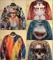 NEW 2014 fashion men/Women Animal skull Marilyn Monroe 3D Sweatshirts letter shark king cartoon print Hoodies casual sweaters