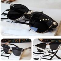 sun glasses for women 2014 new style fashion leopard rivets Reflective sunglasses unisex oculos de sol masculino