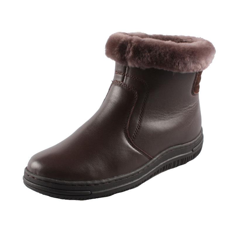 Couro inverno quente botas de neve botas de pele de carneiro idosos algodão fêmea sapatos antiderrapantes fundo grosso(China (Mainland))