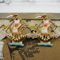 free shipping 6 pair / lot  fashion jewelry accessories metal enamel sailing ship boat earrings