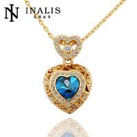 10pcs/lot N561 Wholesale   hot sale  Nickel Free Antiallergic Heart Shape Big Blue Stone Fashion Necklace
