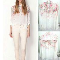 Free shipping Fashion Women Chiffon Blouses Women Flower Print Lapel Casual Chiffon Long Sleeved Shirts Lady Tops S-XL