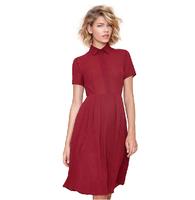 Free Shipping  Plus Size Boyfriend Turn Down Collar Fashion Shirt Dress Short Sleeve 2014 Autumn Pleated Midi Dress XXL