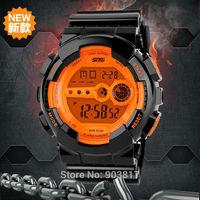 Promotion sales freeshipping 2pcs/lot SKMEI 30-50M waterproof digital sports watches,black pu plastic band,digital movement