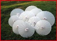 5pcs/lot free shipping white silk parasol Chinese umbrella for bride as wedding decoration & gift