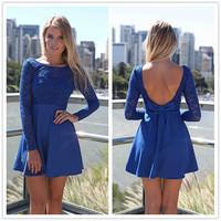 FanShou Free Shipping 2014 Women Dress Fashion Long Sleeve Cute Lace Dress High Waist Heart Patchwork Sexy Backless Dress 4797