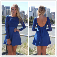 FanShou Free Shipping 2014 Women Dress Fashion Long Sleeve Cute Lace Dress High Waist Heart Patchwork Sexy Backless Dress 4797