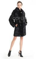 Luxury Genuine Real Mink Fur Coat Jacket  Hooded Female  Fur Outerwear  Long Garment Detached Sleeve Head QD70737