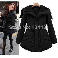 new women's long section of thick velvet hooded drawstring cotton padded jacket Slim thin coat 9865