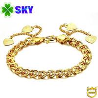 SKY Jewelry! Shining 18K Gold Plated Bracelet Love Hoop-ups Women Stainless Copper Alloy Bracelets Wristband SK357
