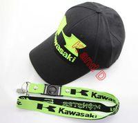 Wholesale embroidery hat motorcycle racing cap kawasaki sport Casual Cap  Emblem hang neck BADGE key  mobile phone lanyard Rope