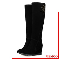 MEMOO 2014 Women Riding Boots Leather Winter  Size34-43 Round Toe Solid Over the Knee Wedges Heel High Shoes Black A1343