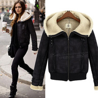 2014 new women's autumn and winter in Europe and America a short paragraph Slim padded cashmere coat 8524