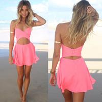 Fashion women sexy dresses 2014 new arrival vestido curto elegantes Halter neck strap Desigual casual sleeveless Pink dress