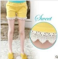 baby Girls summer kind of high-grade cotton candy color shorts crochet shorts menina girls denim lace shorts