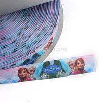 "New 2014 Wholesale Frozen Ribbon 50 Yards 7/8"" Polyester Bag & Printed Ribbon Purple Hair Ribbon Frozen Ribbon 22mm L0617052"