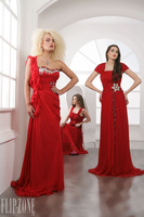 Beach One Shoulder Ruffled Chiffon Long Red Evening Gowns Mother of Bride Dresses