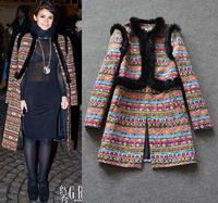 Top Grade New 2014 Women Coats Luxury Rabbit Fur Patch Design Vintage Jacquard Cotton Prints Winter Coats Outerwear European