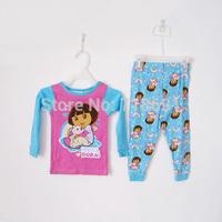 In Stock! Girls Cartoon Pajamas, Children Dora cotton sleepwear kid long-sleeve soft suits 7sets/lot d200
