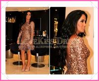 New Arrival Scoop Neck Long Sleeve Backless Feather Hem Sheath Short Cocktail Dress 2015 Celebrity Dress