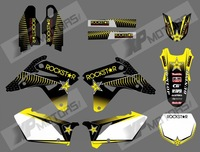 Yellow wave NEW TEAM DECALS 3M GRAPHICS BACKGROUNDS STICKERS FOR SUZUKI RMZ450 2007 (rock star)0590