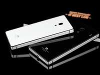 15pcs Toughened Glass Back Cover And Aluminum Frame For Xiaomi Hongmi Red Rice Redmi 1S Luxury Cover+ Screen protector