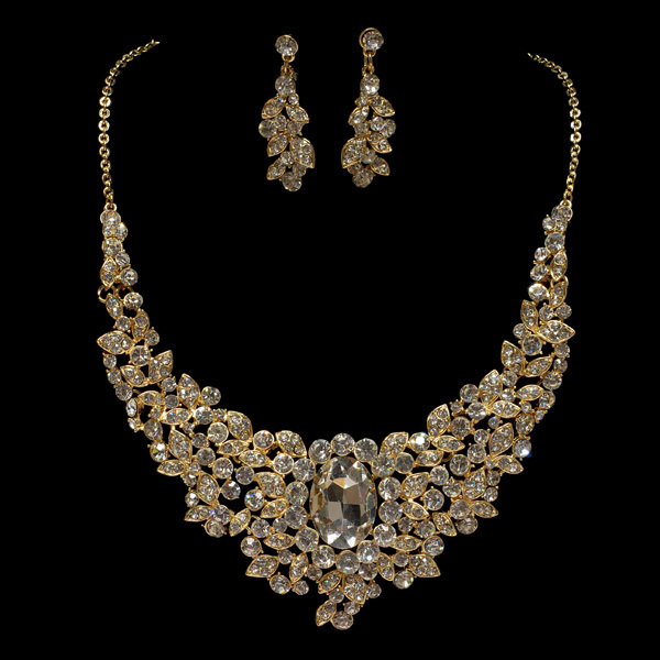 Noble Style Bridal Wedding Party Center Rhinestone Inlay Jewelry Set Gorgeous Bridal Crystal Inlay Necklace Earrings Set(China (Mainland))