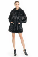 Luxury Genuine Real Mink Fur Coat Jacket Female Fur Outerwear Long Garment Detachable Kintted Wool Sleeve QD70740