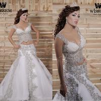 Vintage V Neck Off Shoulder Long Two Pieces Mermaid Wedding Dresses Gowns