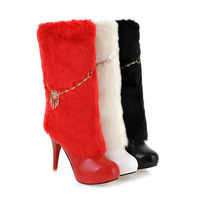 large Size ladies shoes sexy thin High Boots Patent Leather Chains Slip On Ladies Hot Sale Shoes Black White Red W1WS688-1