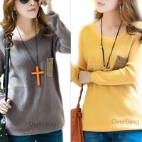 Korean Autumn Round Neck Loose Women Pullover Sweater Long Plus Size Fashion Ladies Botto