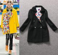Top Grade New Brand Women's Coat Wool Winter 2014 Flower Printed Collar Long Jacket Woolen Overcoats Zip Coats Outerwear Warm