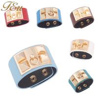 7 Colors Hot Sale 2014 New European Popular Punk Style PU Leather Bracelets Bangles for Women Bracelets Button Black#1840