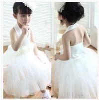 13 2014 white flower girl dresses for weddings girls pageant dresses halter knee length prom dress children vestido de daminha