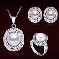 natural freshwater pearl pendant 925 sterling silver necklace, ring and earrings jewelry sets wedding gift