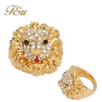 3.0cm Diameter Cute 18K Gold Plated Crystal Ring Elegant Lion Jewelry CZ Rhinestone Austrian Crystal Full Size Wholesale #7-553