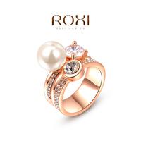 ROXI Brand Big Pearl Imitation Diamond Rings For Women,2014 Fashion 18k Gold Sterling Silver Jewelry Wedding Ring