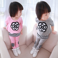 Retail 2014 Autumn New Fashion Girls' Sets Long Sleeves Children Clothing Kids Warm Suit Long 2 Colors  AB364