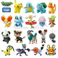 free shipping Pokemon 50pcs 2-3cm different style Mini Pokemon Cartoon Figure pocket toys pikachu Mixed orders