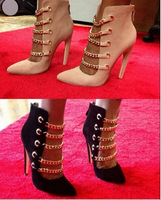 top selling 2014 brand women black/beige genuine leather autumn boots gladiator chain high heels ankle boots party shoes woman