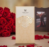 2015Teda CW2002 Ivory /champagne Laser Cut Wishmade Wedding Invitation Cards Sleeves