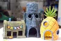 New 3pc/set  SpongeBob Pineapple House & Squidward Easter Island Home  Krusty Krab  Aquarium Decoration Fish Tank Ornament Decor