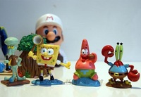 New 4pc/set 6cm SpongeBob, Squidward, Eugene H. Krabs, Patrick Star Aquarium Decoration Fish Tank Ornament Decor