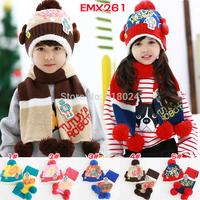 Retail hot children hat 100% Acylic hat+scarf two piece set cap children Striped cap Warm winter Gift Free Shipping