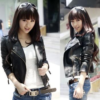 Кожаная куртка женская куртки пальто тонкий про-байкер мягкий молния женские кожаные ...